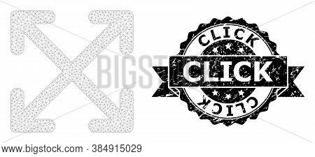 Click Grunge Stamp And Vector Enlarge Arrows Mesh Model. Black Stamp Seal Includes Click Text Inside