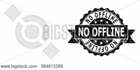 No Offline Corroded Stamp And Vector Joint Node Mesh Structure. Black Stamp Seal Includes No Offline