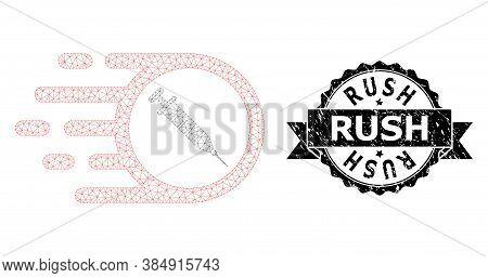 Rush Dirty Stamp Seal And Vector Rush Vaccine Mesh Structure. Black Stamp Contains Rush Title Inside
