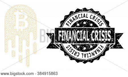 Financial Crisis Dirty Seal Imitation And Vector Melting Bitcoin Mesh Model. Black Seal Contains Fin