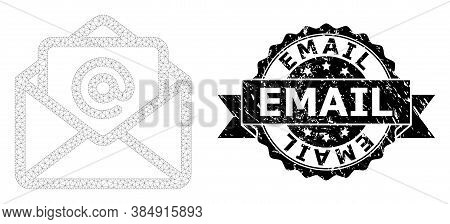 Email Textured Stamp Seal And Vector Open Email Mesh Model. Black Stamp Seal Contains Email Caption