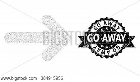 Go Away Grunge Stamp Seal And Vector Right Arrow Mesh Structure. Black Stamp Has Go Away Caption Ins
