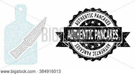 Authentic Pancakes Corroded Seal Print And Vector Cutting Board And Knife Mesh Structure. Black Seal