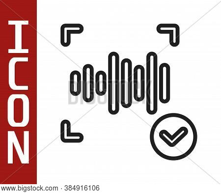 Black Line Voice Recognition Icon Isolated On White Background. Voice Biometric Access Authenticatio