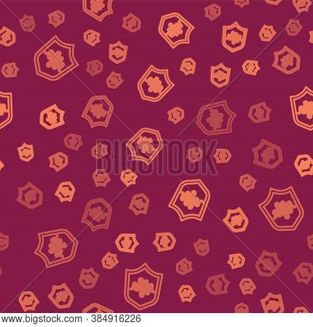 Brown Line Shield Voice Recognition Icon Isolated Seamless Pattern On Red Background. Voice Biometri