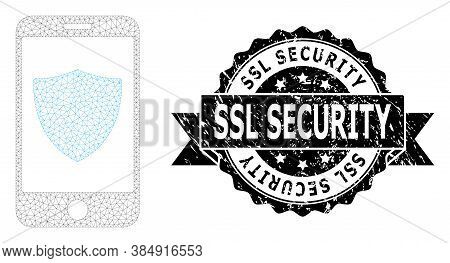 Ssl Security Textured Stamp Seal And Vector Smartphone Shield Mesh Model. Black Stamp Seal Includes