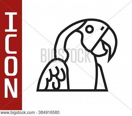 Black Line Macaw Parrot Bird Animal Icon Isolated On White Background. Animal Symbol. Vector