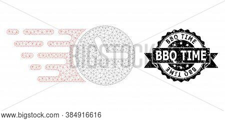 Bbq Time Dirty Seal Imitation And Vector Clock Mesh Model. Black Stamp Contains Bbq Time Caption Ins