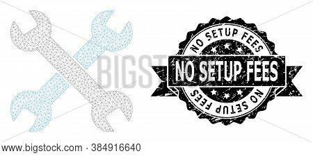 No Setup Fees Dirty Stamp Seal And Vector Spanners Mesh Model. Black Stamp Seal Includes No Setup Fe