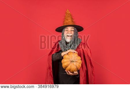 Halloween Night Party. Witch Man In Hat And Cloak. Happy Halloween. Weird Old Grandfather With Gray