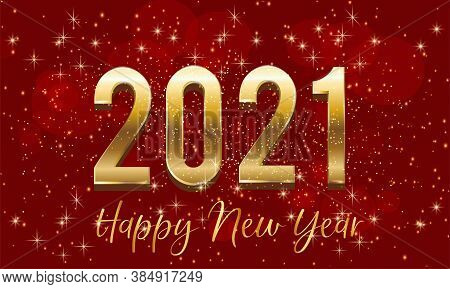Golden 2021 New Year 3d Number Design With Burst Glitter On Red Colour Background - Happy New Year 2