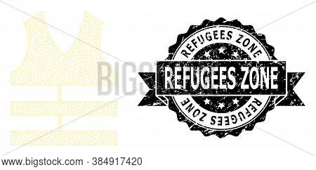 Refugees Zone Unclean Stamp Seal And Vector Safety Vest Mesh Model. Black Stamp Seal Contains Refuge