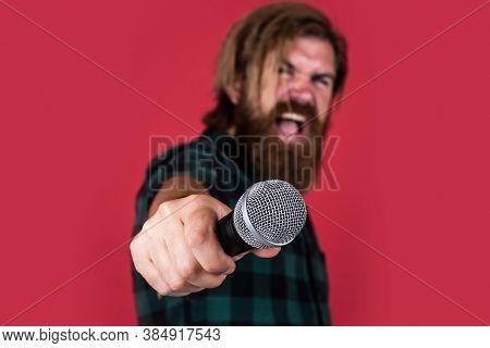 He Is Rock Star. Brutal Stylish Singer. Singing In Karaoke. Mature Hipster With Beard Sing Song. Bru