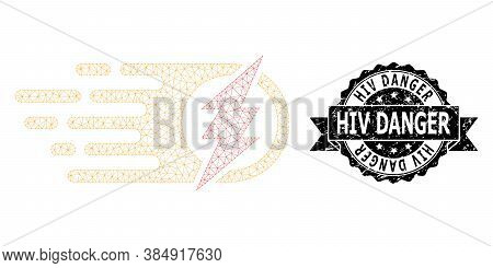 Hiv Danger Textured Seal Imitation And Vector Electric Spark Mesh Model. Black Seal Has Hiv Danger T