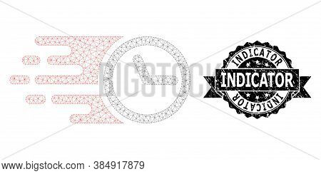 Indicator Corroded Seal Imitation And Vector Clock Mesh Model. Black Stamp Seal Includes Indicator T