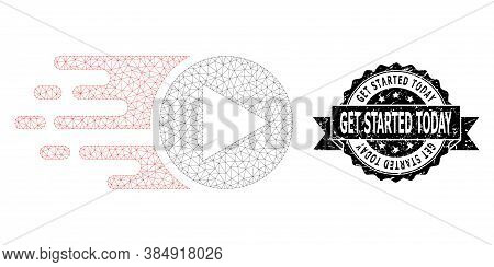 Get Started Today Corroded Stamp Seal And Vector Start Play Mesh Structure. Black Stamp Seal Include