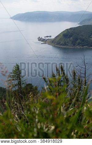 Top View Of Cliffs Green Mountains Near Bay Of Blue Lake Baikal The Mouth Of Angara River From Chers