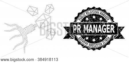 Public Relations Manager Pr Manager Scratched Seal Imitation And Vector Virus Replication Mesh Model