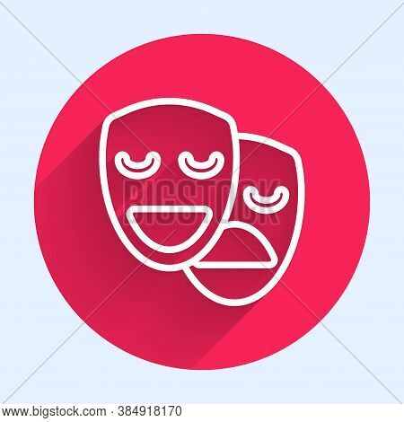 White Line Comedy And Tragedy Theatrical Masks Icon Isolated With Long Shadow. Red Circle Button. Ve