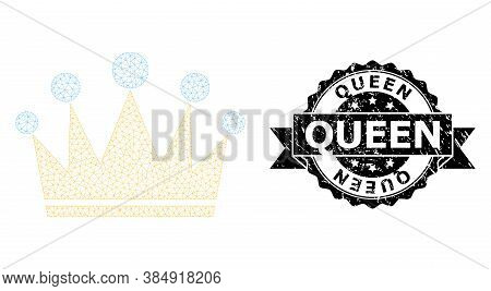 Queen Unclean Seal And Vector Crown Mesh Structure. Black Stamp Seal Has Queen Text Inside Ribbon An