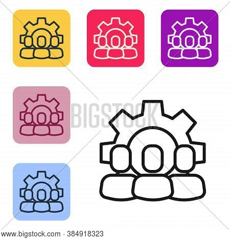 Black Line Project Team Base Icon Isolated On White Background. Business Analysis And Planning, Cons