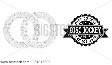 Disc Jockey Unclean Stamp Seal And Vector Wedding Rings Mesh Structure. Black Stamp Includes Disc Jo