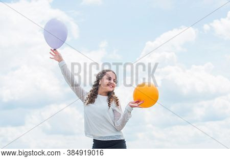 Higher And Higher Everyday. Cheerful Girl Have Fun. Freedom Concept. Happiness Is Air Balloons. Summ
