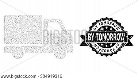 By Tomorrow Rubber Seal And Vector Delivery Car Mesh Model. Black Stamp Seal Has By Tomorrow Text In