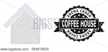 Aroma Charm Coffee House Grunge Seal Imitation And Vector House Mesh Structure. Black Seal Includes