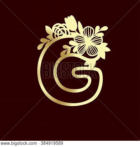 Delicate Pattern For Cutting Letter G With Tender Wildflowers. Paper Art. Golden Die Cutting For Scr
