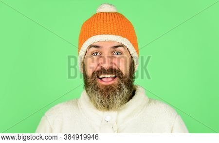 Head In Warm Hat. Handsome Man Knitted Hat With Pom Pom. Fashion Concept. Winter Clothes And Accesso