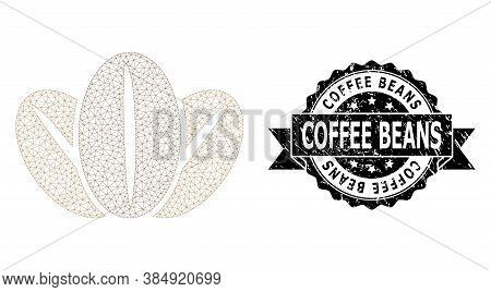Coffee Beans Rubber Watermark And Vector Coffee Beans Mesh Structure. Black Stamp Contains Coffee Be