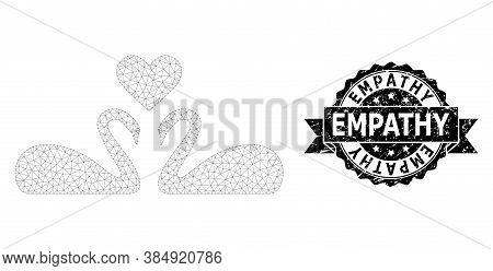Empathy Grunge Stamp Seal And Vector Love Swans Mesh Model. Black Stamp Seal Contains Empathy Tag In