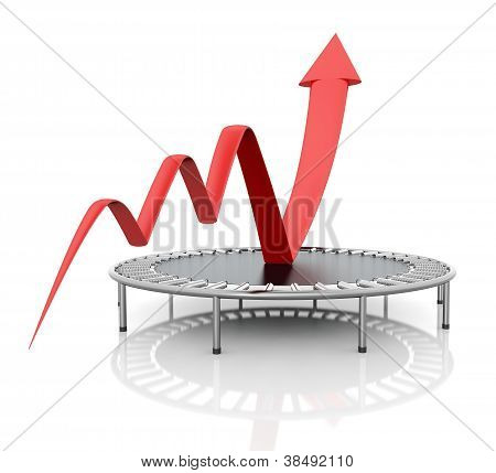 Business growth red graphic relaunched with a trampoline on a white isolated background. Company rescue. poster