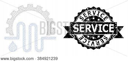 Service Rubber Seal Imitation And Vector Water Supply Service Mesh Structure. Black Seal Includes Se
