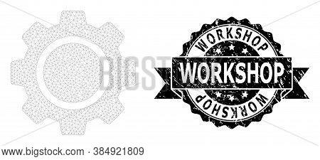 Workshop Rubber Seal Print And Vector Cog Wheel Mesh Structure. Black Seal Has Workshop Text Inside