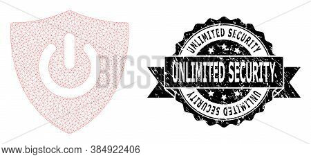 Unlimited Security Textured Stamp Seal And Vector Shield Turn Off Mesh Structure. Black Seal Contain