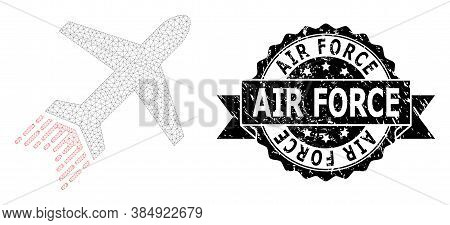 Air Force Scratched Seal And Vector Jet Liner Mesh Structure. Black Seal Contains Air Force Tag Insi