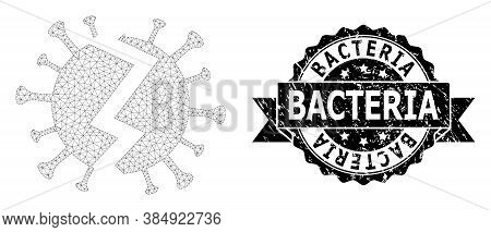 Bacteria Scratched Seal And Vector Broken Virus Mesh Model. Black Seal Contains Bacteria Caption Ins