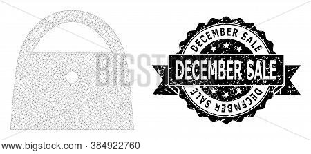 December Sale Rubber Stamp Seal And Vector Lady Bag Mesh Model. Black Seal Has December Sale Text In