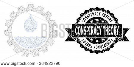 Conspiracy Theory Grunge Stamp Seal And Vector Water Service Mesh Model. Black Seal Has Conspiracy T