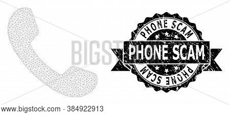 Phone Scam Textured Stamp And Vector Phone Mesh Structure. Black Stamp Seal Has Phone Scam Caption I