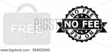 No Fee Grunge Stamp And Vector Free Case Mesh Model. Black Stamp Seal Has No Fee Text Inside Ribbon