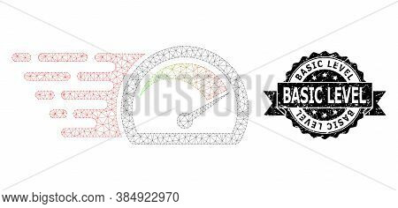 Basic Level Rubber Stamp Seal And Vector Speed Gauge Mesh Model. Black Stamp Includes Basic Level Ti