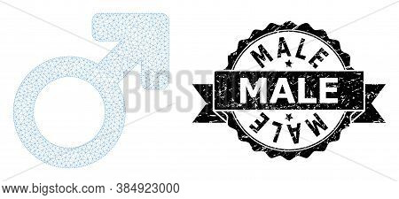Male Unclean Seal Print And Vector Male Symbol Mesh Model. Black Seal Has Male Tag Inside Ribbon And