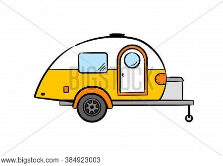 Hand-drawn Retro Caravan Trailer. Camper Isolated On White Background. Vector Illustration On The Th