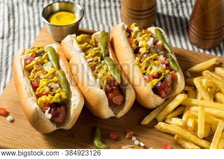 Homemade Chicago Style Hot Dog And Fries