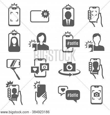 Selfie Stick, Monopod Pole Bold Black Silhouette Icons Set Isolated On White. Smartphone, Self Portr