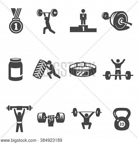 Weightlifting, Bodybuilding, Heavy Athletics Bold Black Silhouette Icons Set Isolated On White.