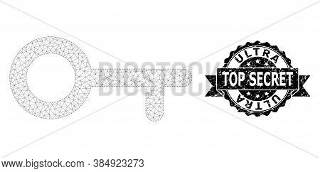 Ultra Top Secret Rubber Watermark And Vector Key Mesh Structure. Black Stamp Seal Contains Ultra Top